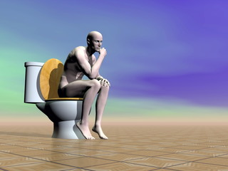 On the toilet - 3D render