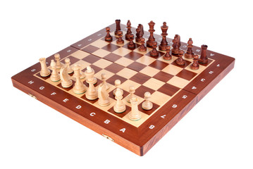 Wooden Chessboard with peaces ready to play