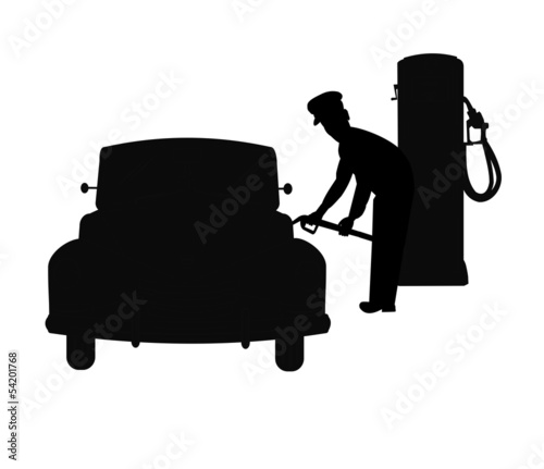 gas jockey filling tank in car with gas