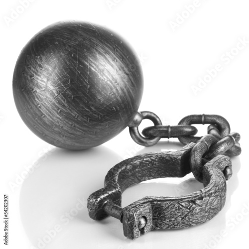 Ball and chain isolated on white