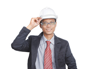 face of smiling engineer on white