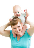 loving mother having fun with baby boy isolated