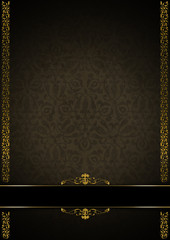 Luxury Floral Black, Brown and Gold Background