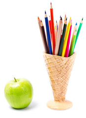 Color pencils in ice cream shape holder, Back to school supplies