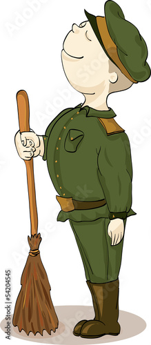soldier in old style uniform with sweeper on parade-ground