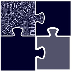 Word cloud in puzzle shape with self development terms.