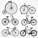 set of bicycles on a white background