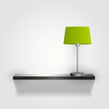 wall with green lamp /vector/ minimal
