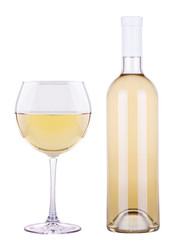 glass of white wine and a bottle isolated