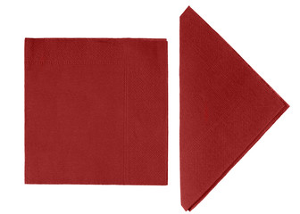 Maroon paper napkins, serviettes isolated - white background