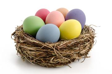 Bunte Eier im Nest