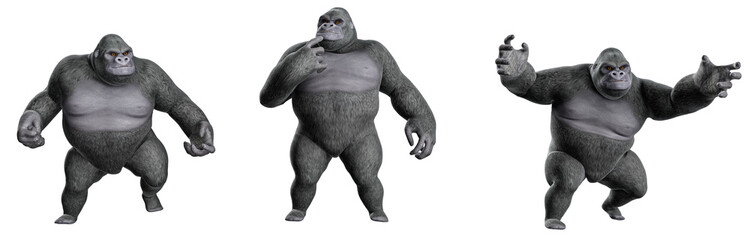 Cartoon,Gorilla in verschiedenen Posen 02