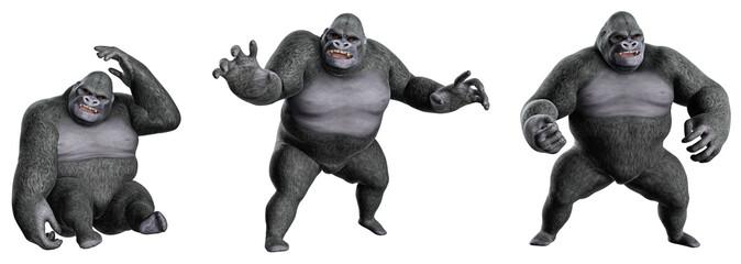 Cartoon,Gorilla in verschiedenen Posen 01