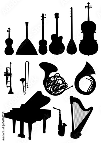 Various isolated musical instruments