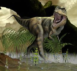 Dinosaurier in urzeitlicher Landschaft