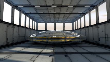 Futuristic storage and UFO