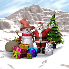 Weihnachtsmann mit Schneemännern, Weihnachtsbaum und Geschenken