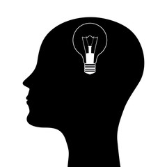 silhouette of a man with a head lamp