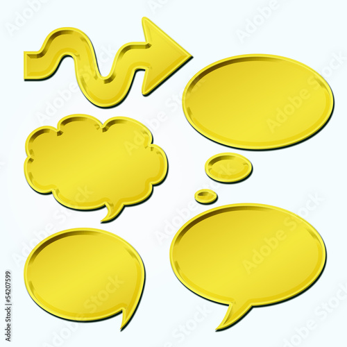 set of golden speech bubbles&arrow