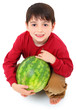 Attractive Caucasian Boy Child Picking Whole Watermelon