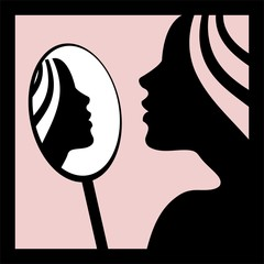 Woman looking in the mirror -vector illustration