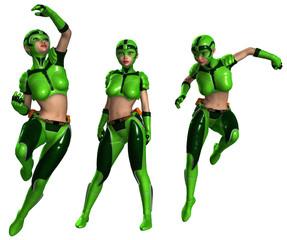 Frau mit Superhelden-Outfit in verschiedenen Posen