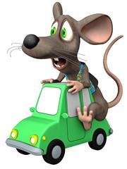 Maus / Cartoon-Tier auf Spielzeugauto