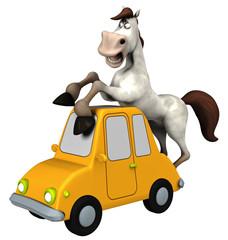 Pferd / Cartoon-Tier auf Spielzeugauto