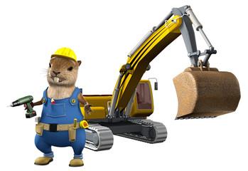 Biber als Bauarbeiter vor Schaufelbagger