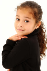 Beautiful Hispanic Toddler Girl Looking Over Shoulder