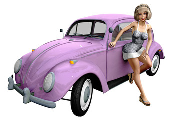 Hübsche Frau mit Käfer / Automobil - retro 01