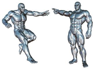 Roboter / Chrom-Mann in Pose