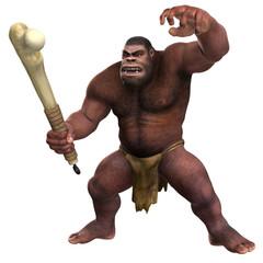 Neandertaler mit Keule 02