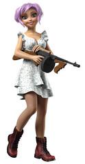 Frau mit Kleid und Stiefeln hält Maschinengewehr