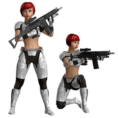Frau in Schutzrüstung mit Gewehr in zwei Posen
