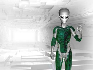 Alien im Raumschiff grüßt und kommt in Frieden
