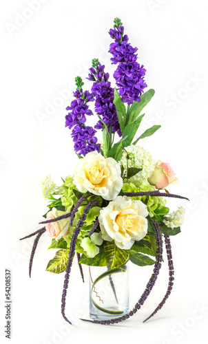 In de dag Hydrangea Bouquet of rose and lavender in glass vase