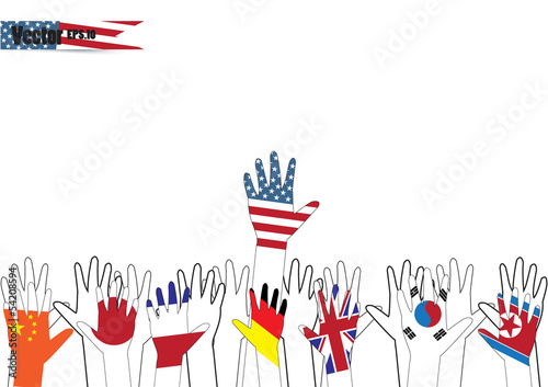 Flag hands vector illustration