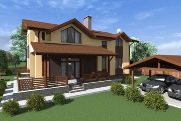 загородный дом с террасой