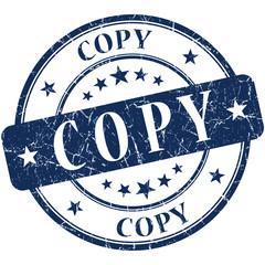 copy blue grunge round stamp