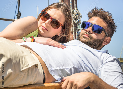 Couple of Lovers caught by Paparazzi on a sailing Boat