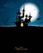 Vector Illustration of a Scary Halloween Background with Castle