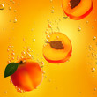 Vector Illustration of Apricots Falling in Liquid