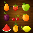 Vector Illustration of Glossy Fruits on a Wooden Background