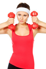 holding dumbbells