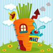 rabbit in house of carrots -  vector illustration