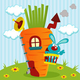 rabbit in house of carrots -  vector illustration