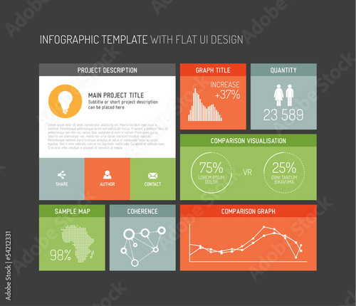Vector flat user interface infographic