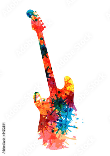 Abstract guitarist color. Eps 10