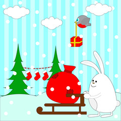 Christmas illustration with rabbit